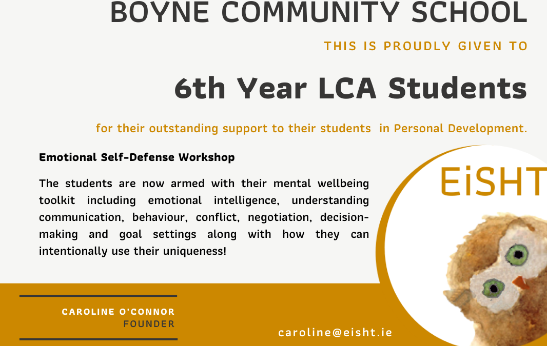 Sixth Year LCA's Complete Emotional Self-Defense Workshop